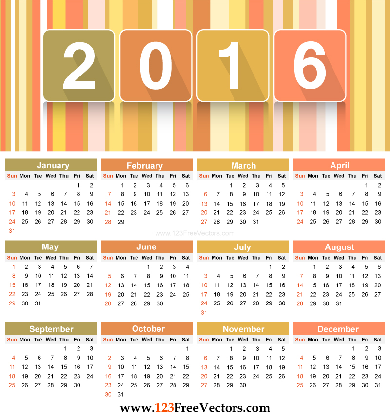 Yearly calendar 2016 to print HD | calendars 2016 kalendar 2016