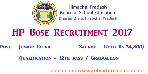 HP Board Dharamshala Recruitment, HP Bose online application, HPBOSE Clerk Recruitment 2017