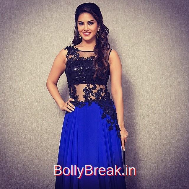 , Actress Sunny Leone Pics in Blue Dress - Lakme Fashion Week