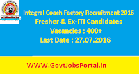 Integral Coach Factory Recruitment 2016