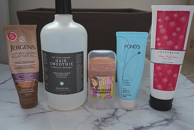 Jergens - Natural Glow Medium to Tan Graydon - Hair Smoothie Ah Naturel - Pink Sugar Deodorant, Ponds - Pore White Facial Foam Love Fresh - Guava Hand Lotion