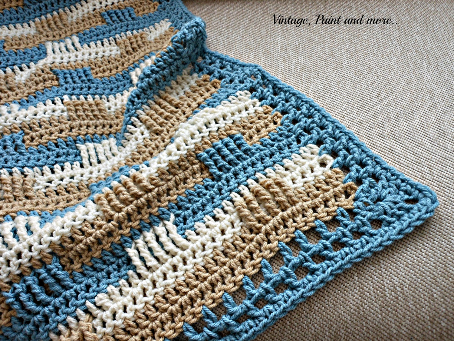 Crocheting An Afghan : Vintage, Paint and more... an afghan crocheted in a basket weave ...
