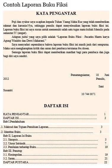 format umum dan format khusus laporan buku fiksi