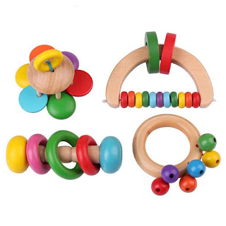 Toy Wooden Musical Rattle 4 Styles Educational Percussion Instrument