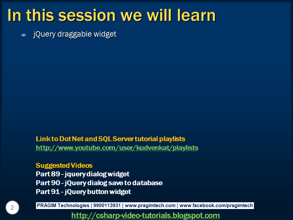 Sql server, .net and c# video tutorial: jquery draggable ...