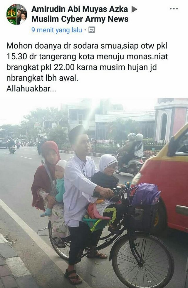 Mengharukan... Satu Keluarga Ngontel Sepeda dari Banten ke Monas demi Ikut Reuni Akbar 212