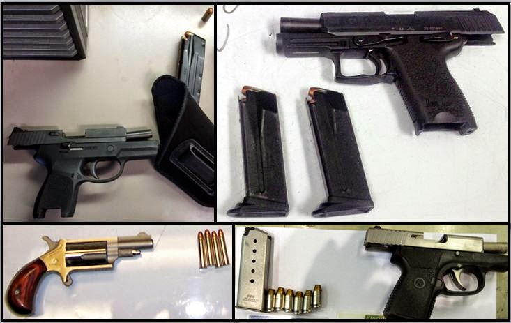 Clockwise from top left, firearms discovered at:BNA, RDU, TPA & RDU