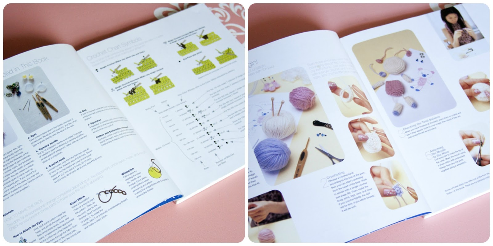 Like most other craft books, it starts out with a quick explanation of the  skills you will need to know in order to complete the patterns.