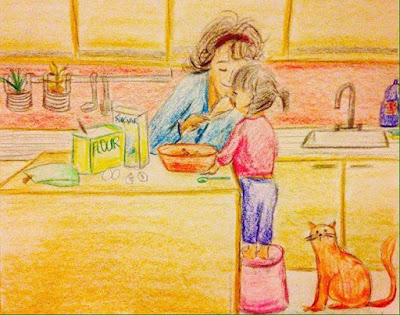 cooking mother daughter motherdaughter food drawing sketch