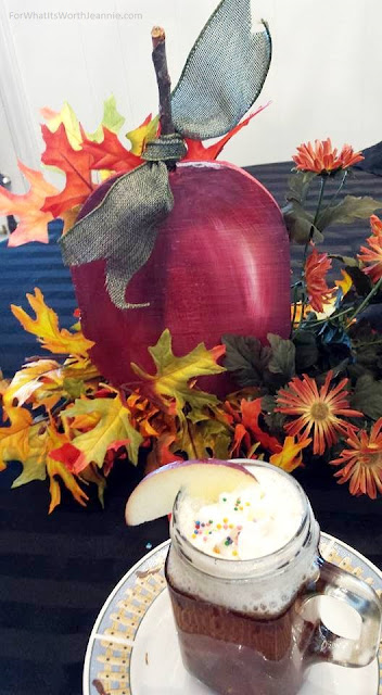 DIY painted apple center piece w hot apple cider