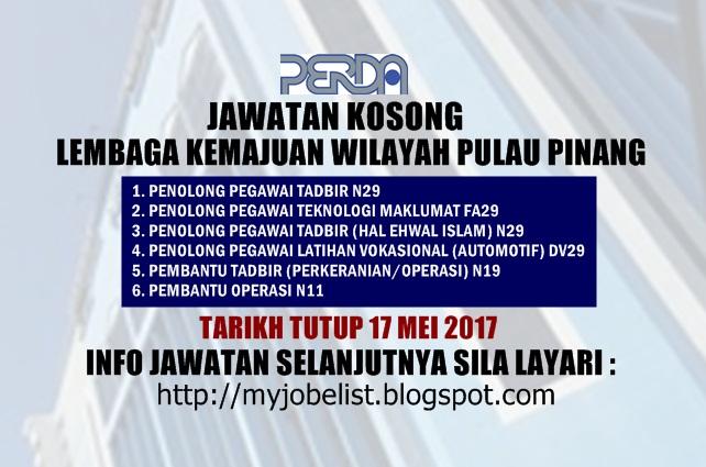 Jawatan Kosong Lembaga Kemajuan Wilayah Pulau Pinang (PERDA) Mei 2017