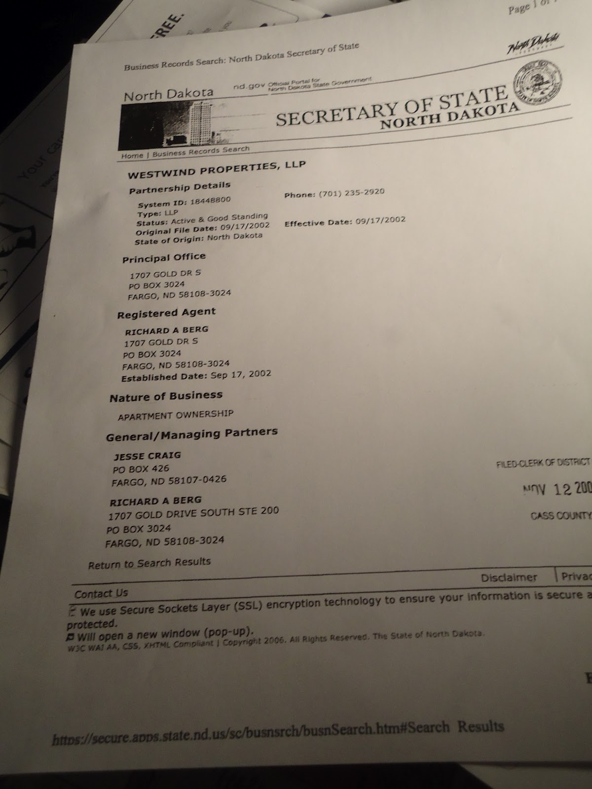 Photo Is Document Showing Berg A Partner (1 Of 2 !) In Westwind Properties  Llc  In Westwind Llc  He Was Also The Registered Agent !