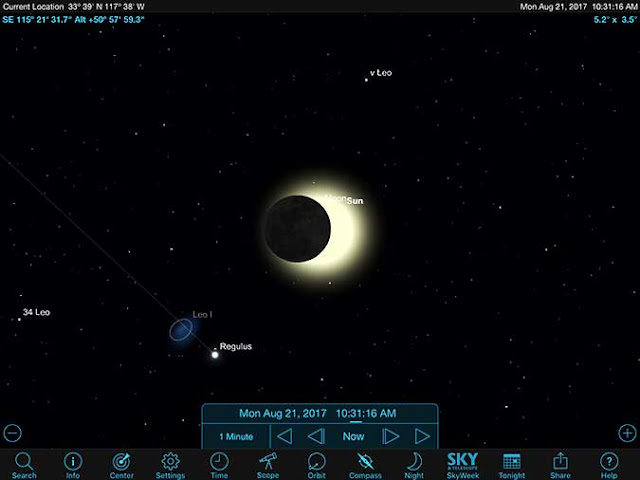 Resident Astronomer uses Sky Safari Pro to find background stars near solar eclipse