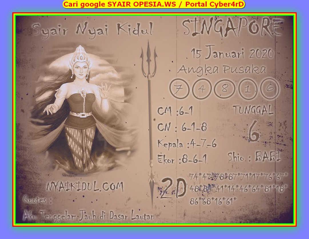 Kode syair Singapore Rabu 15 Januari 2020 76