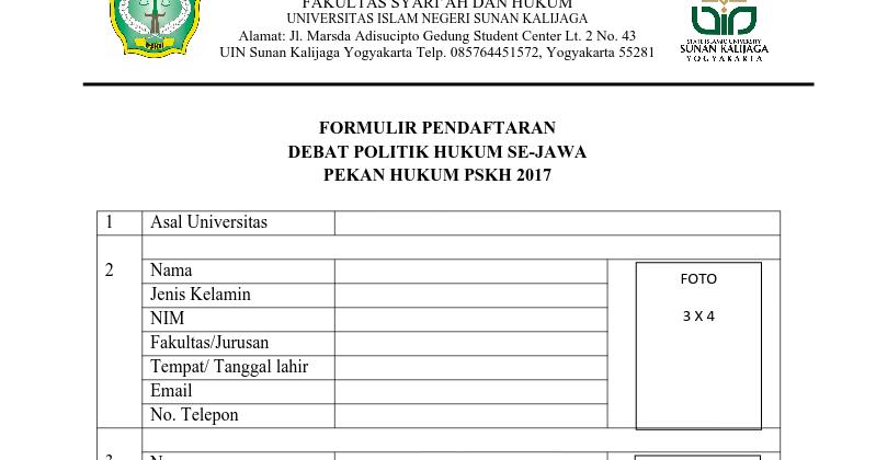 Formulir Pendaftaran Debat Politik Hukum Se Jawa 2017 Pusat Studi