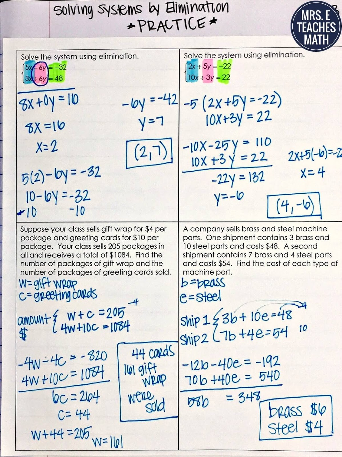 Systems Of Equations Inb Pages