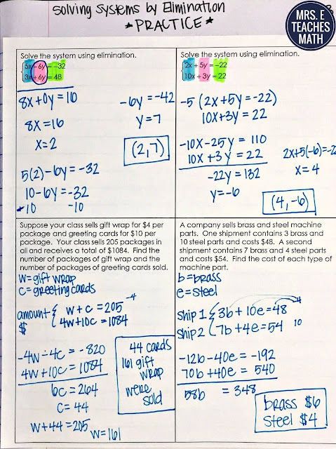Solving Systems of Equations by Elimination Interactive Notebook Page