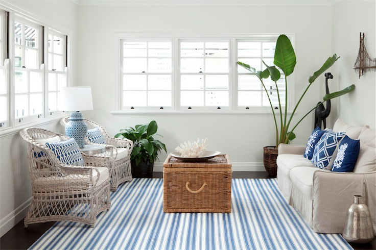 Lunch Latte Styling Blue And White Striped Rugs