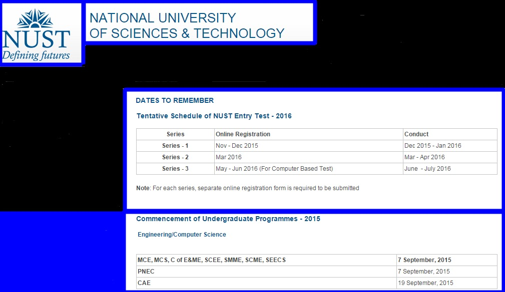 Information about NUST (Dates to Remember) ~ Hit Pics