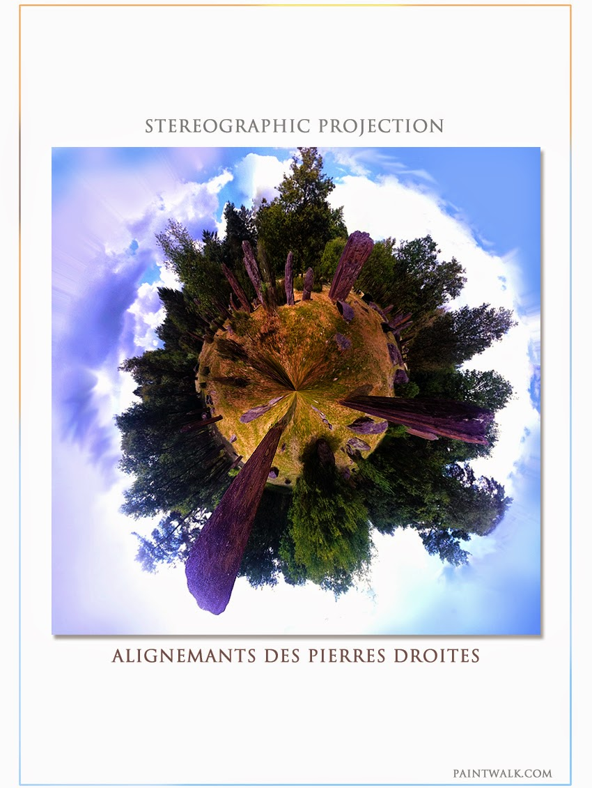 Stereograpic projection 360 degrees des Pierres Droites Alignments Brittany