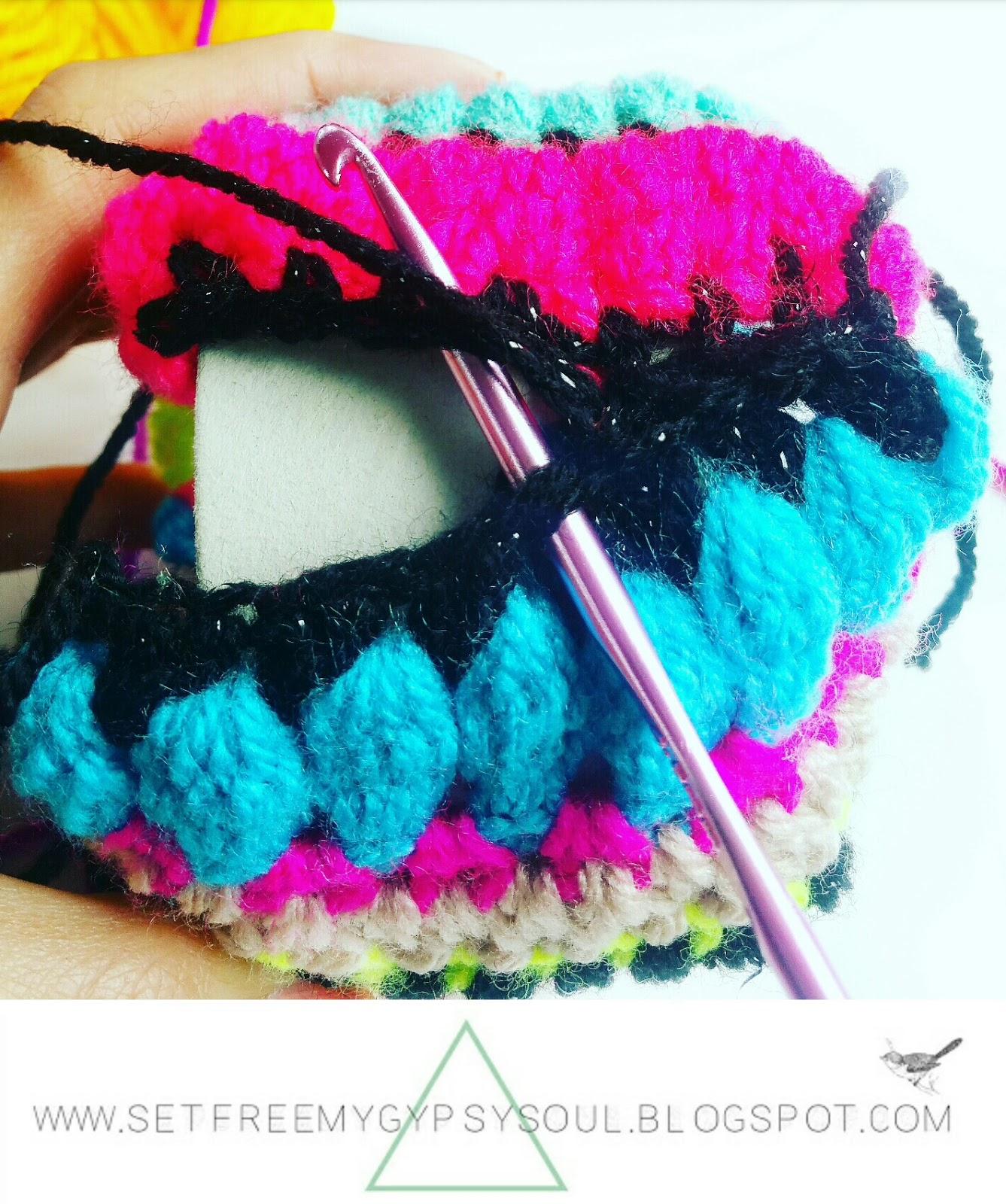 crochet jewellery bangle bracelet pattern free boho hippie tribal pom pom