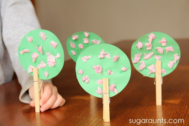 Make Cherry Blossom tree crat to work on fine motor skills with clothes pins for trunks.