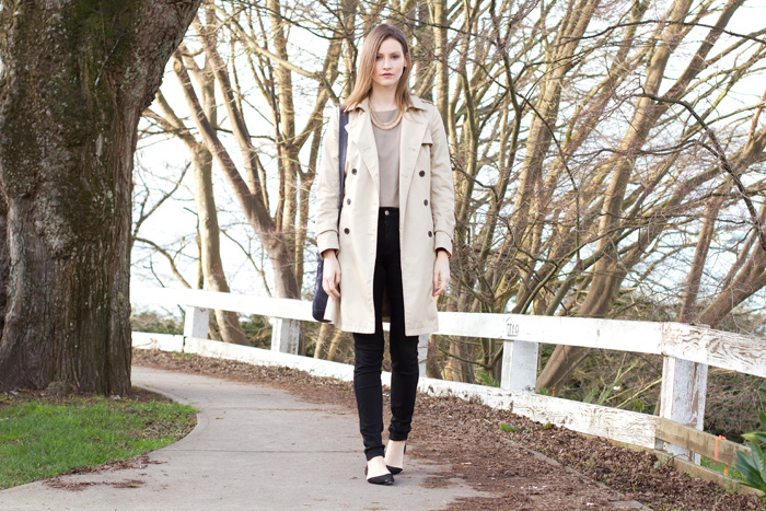 Vancouver Fashion Blogger, Alison Hutchinson, is wearing a classic Trench for the beginning of Spring fashion
