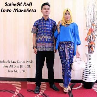 Baju couple batik bawahan celana dan rok lilit panjang