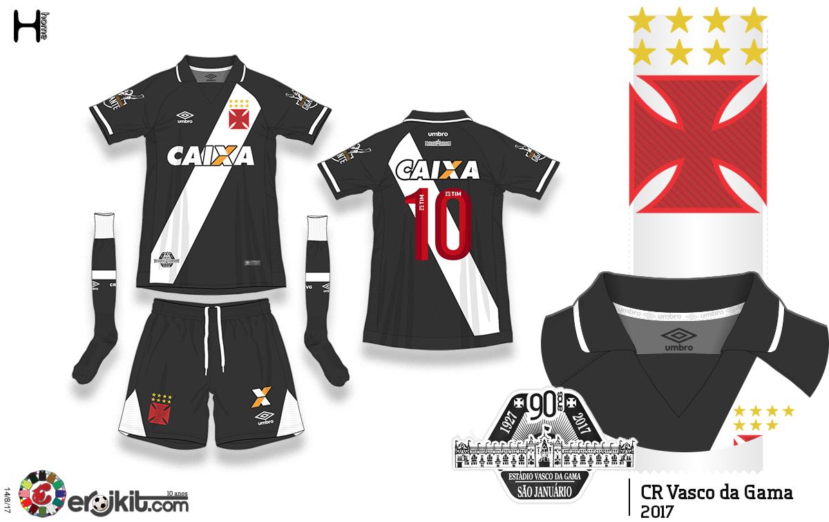 dbd9da48ef96e ... estampada na extremidade da faixa em comemoração aos 90 anos do estádio  São Januário. E como todo kit da Umbro