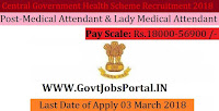 Central Government Health Scheme Recruitment 2018 – 128 Medical Attendant & Lady Medical Attendant