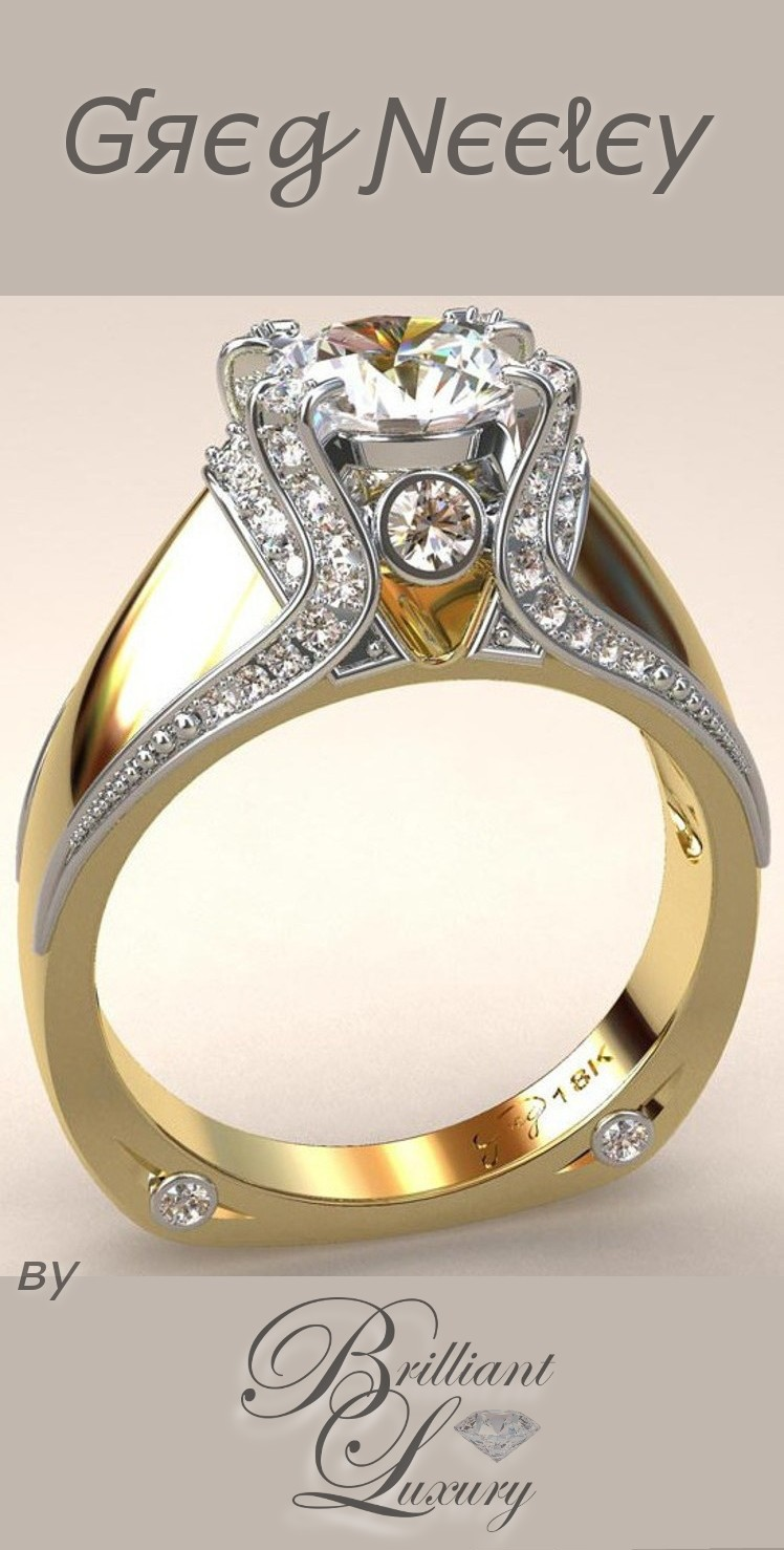 Brilliant Luxury ♦ Greg Neeley Italian Top Ladies Diamond and 18k Ring
