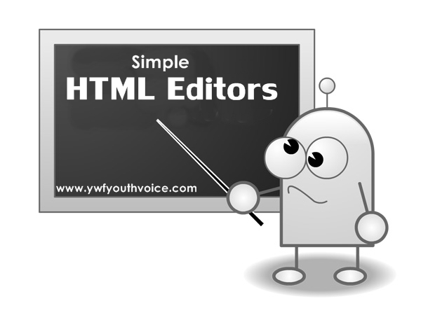 Simple HTML Editors Cover Pic Written On Board