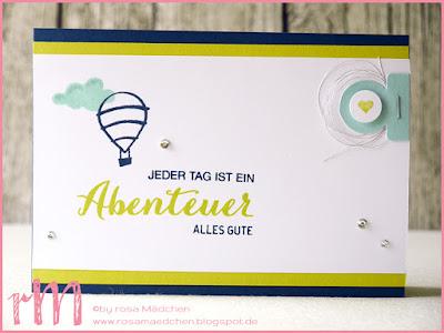 Stampin' Up! rosa Mädchen Kulmbach: Karte für viele Anlässe mit Lebe Deinen Traum und Stanze runder Karteireiter in Limette, Marineblau und Aquamarin