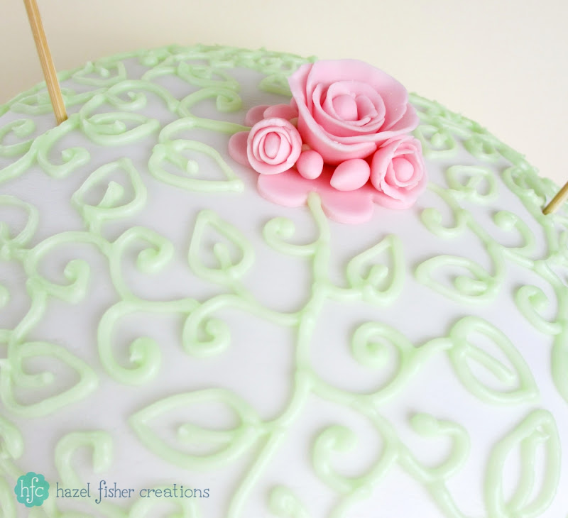 Summer Cake - decorative piped leaf icing with a fondant rose by Hazel Fisher Creations