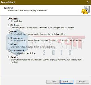 Tampilan wizard file type dari Recuva untuk menentukan apa tipe files yang akan dipulihkan