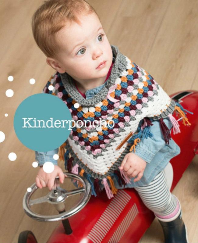 Kinder poncho, haakspiratie. Jip by Jan | Happy in Red