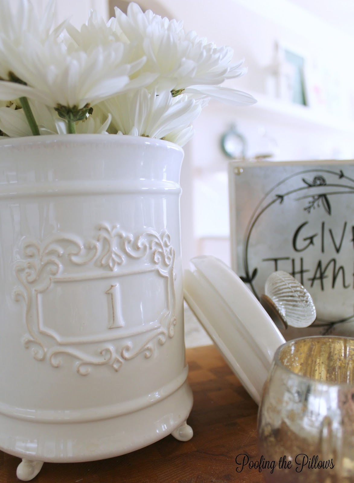 kitchen vignette, Mud Pie canister, fresh flowers, mercury glass, Give Thanks sign