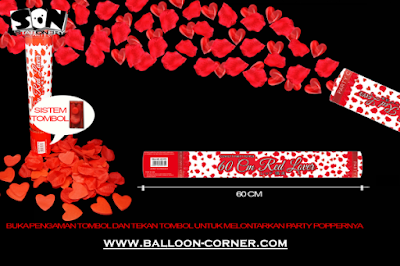 Party Popper Red Lover / Confetti Red Lover Ukuran 60 Cm (TOMBOL / PENCET)