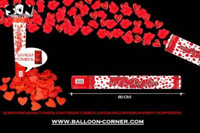 Party Popper Red Lover / Confetti Red Lover Ukuran 60 Cm (TOMBOL / PENCET)
