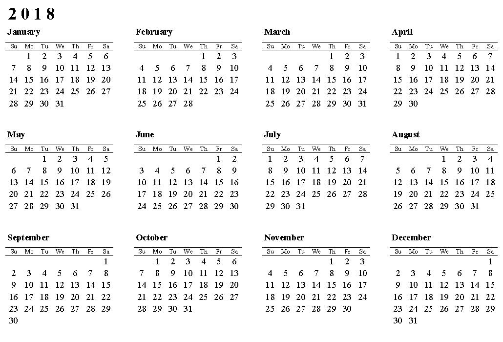 free printable calendar 2018 year