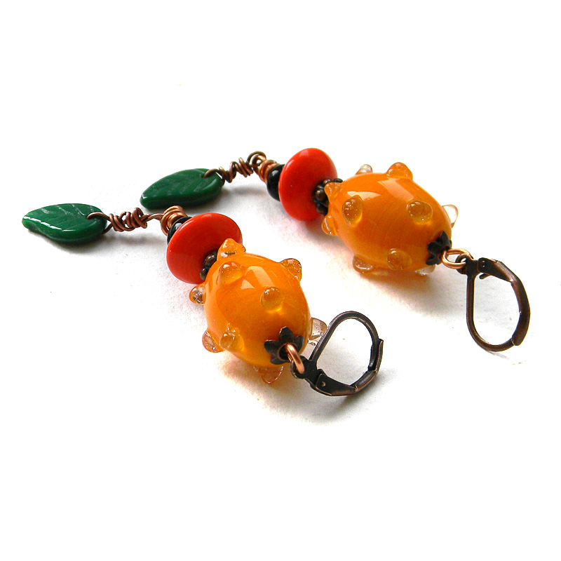 Colorful orange earrings - long dangle earrings - ethnic / boho jewelry