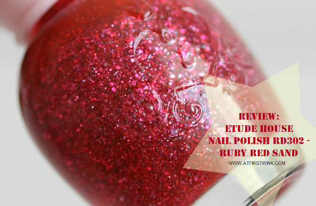 Review: Etude House nail polish RD302 - Ruby Red Sand