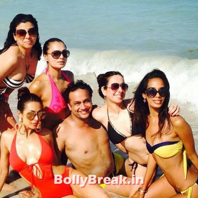 Malaika Arora Khan in red bikini with riends on a beach, Real Life Pics of Malaika Arora - Home, Beach, Bikini, Friends, Family & Modelling Days
