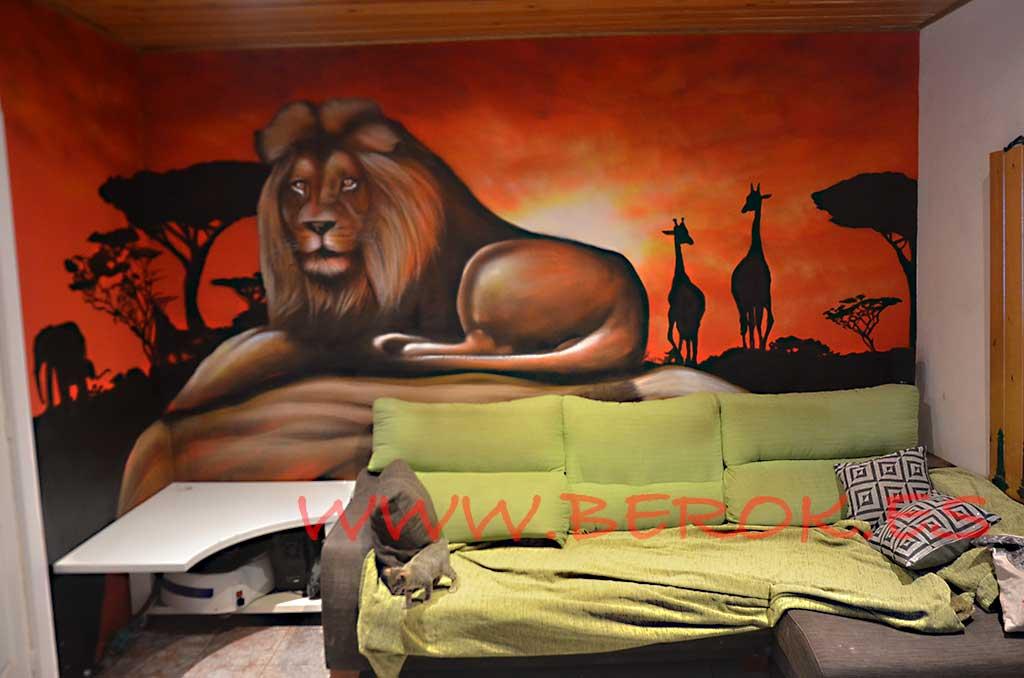 Berok graffiti mural profesional en barcelona murales de - Murales pintados a mano ...
