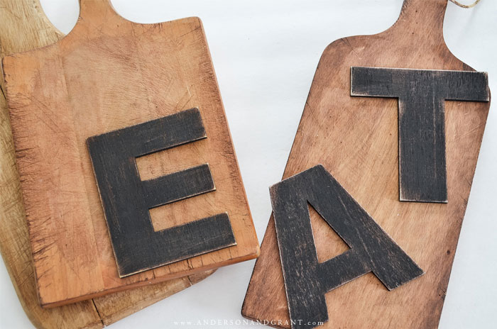 Wood letters and cutting boards