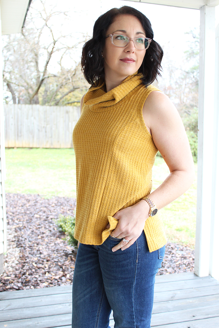 Ochre Waffle Knit Taos Top // Sewing For Women