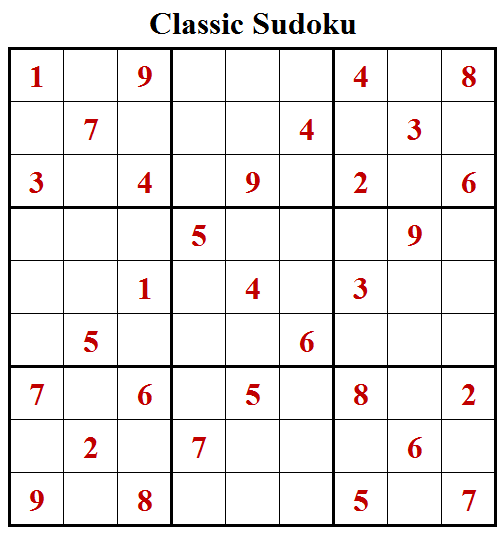 Classic Sudoku Puzzle (Fun With Sudoku #243)