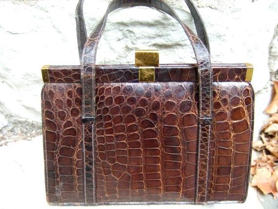 1940s Elegant Alligator Handbag Genuine