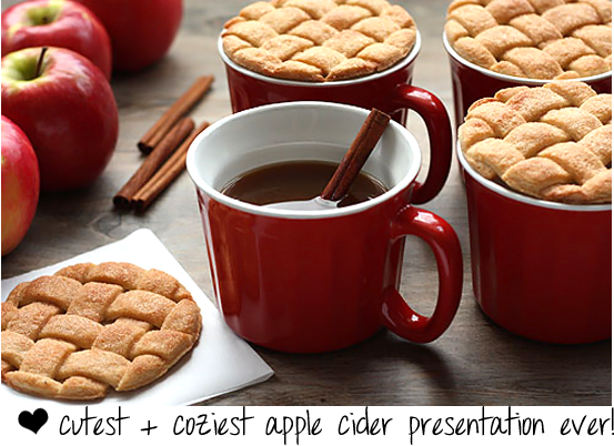 lattice cookie and apple cider
