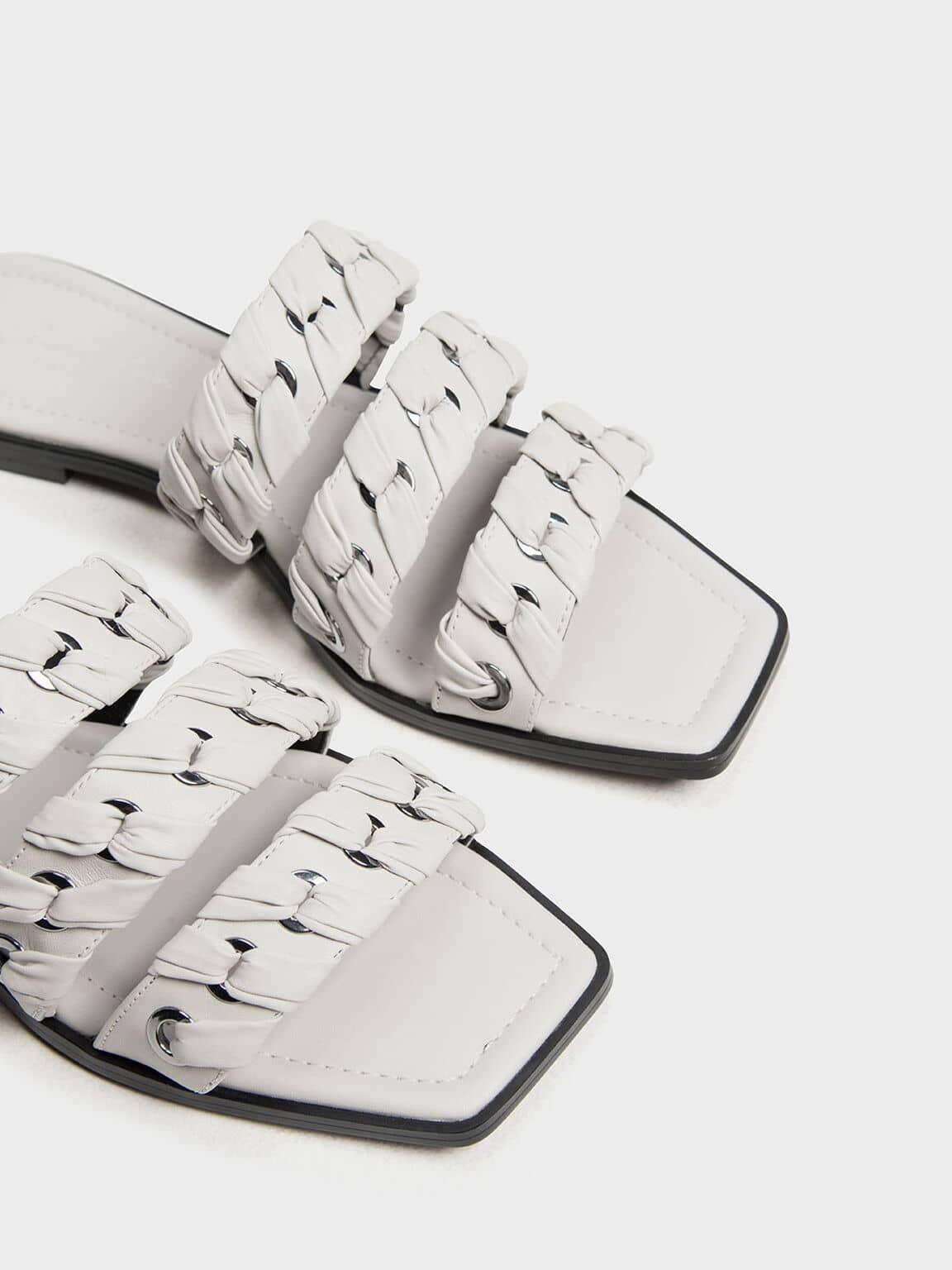 weave detail leather slide sandals